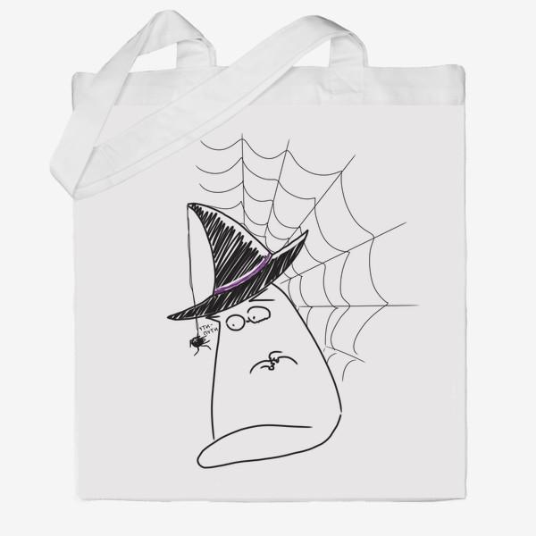 Сумка хб «Хеллоуин, Halloween. Кот и паук. Ути-пути»