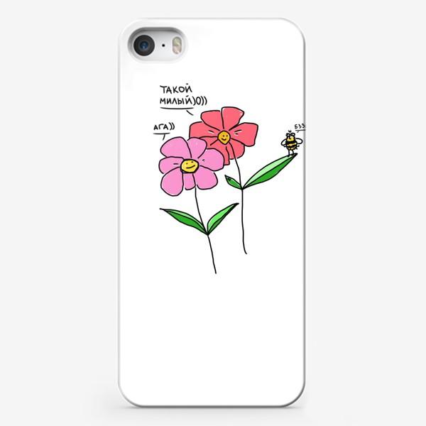 Чехол iPhone «Такой милый пчел. Цветы-цветы»