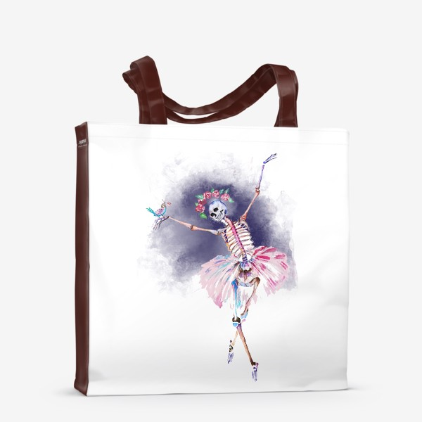 Сумка-шоппер «Скелет хэллоуин рождество стильный принт веселый принт»
