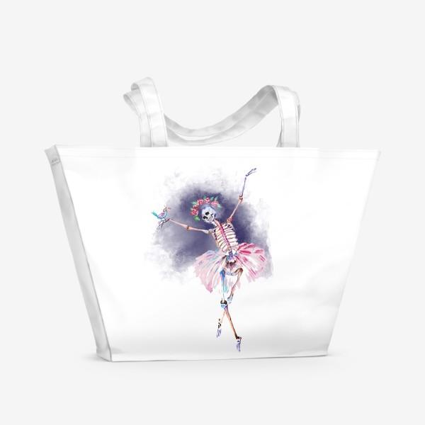 Пляжная сумка «Скелет хэллоуин рождество стильный принт веселый принт»