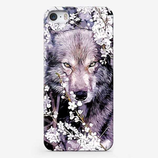 Чехол iPhone «Волк на фоне цветов»
