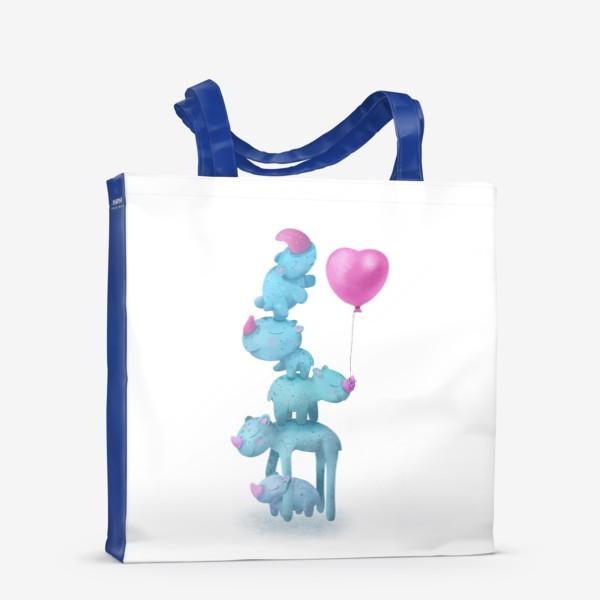 Сумка-шоппер «С любовью. Милые носороги с шариком»