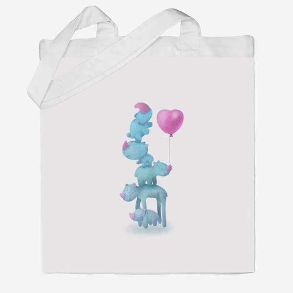 Сумка хб «С любовью. Милые носороги с шариком»