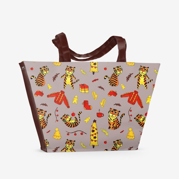 Пляжная сумка «Новогодние тигры 2022 на красно-бежевом фоне»