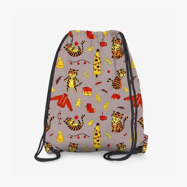 Рюкзак «Новогодние тигры 2022 на красно-бежевом фоне»