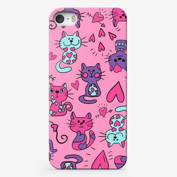 Чехол iPhone «Китти валентинки, паттерн»