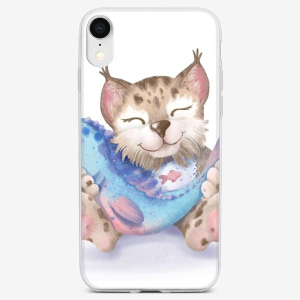 Чехол iPhone «Счастье есть. Рысь с рыбкой»