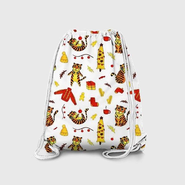 Рюкзак «Новогодние тигры 2022 на белом фоне»