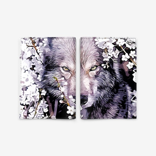 Обложка для паспорта «Волк на фоне цветов»