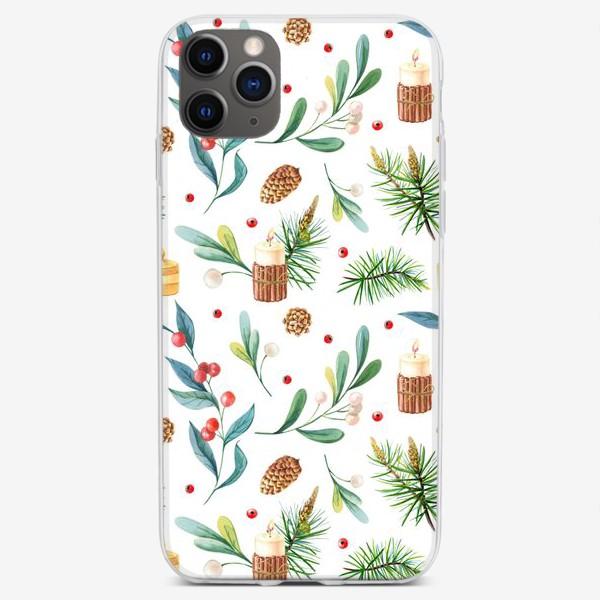 Чехол iPhone «Новогодний паттерн со свечками»
