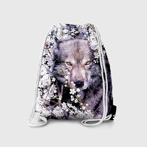 Рюкзак «Волк на фоне цветов»