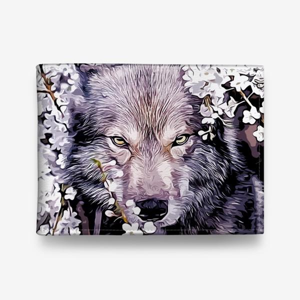 Кошелек «Волк на фоне цветов»