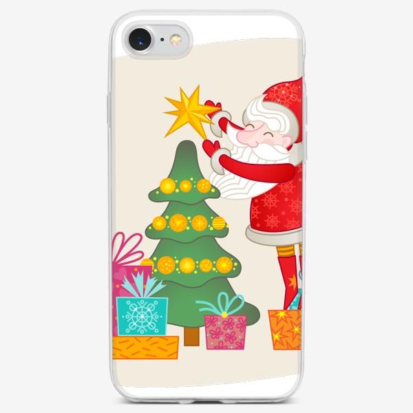 Чехол iPhone «Санта. Дед Мороз, ёлка и подарки»