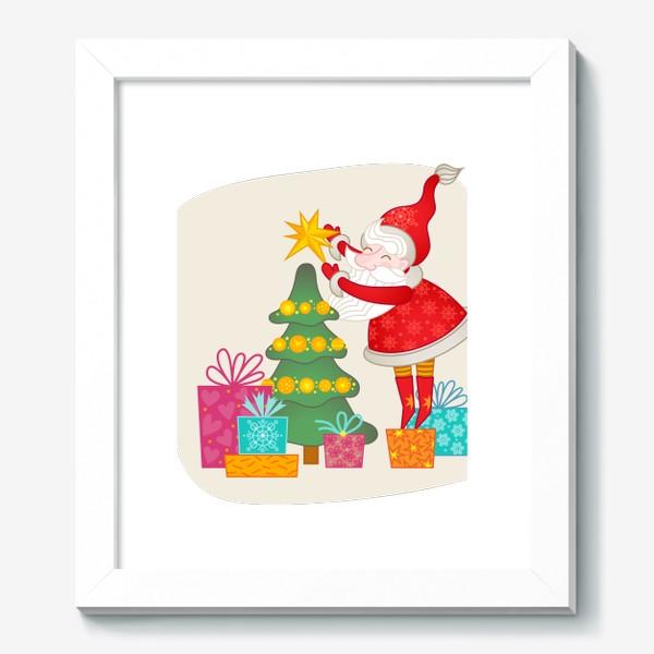 Картина «Санта. Дед Мороз, ёлка и подарки»
