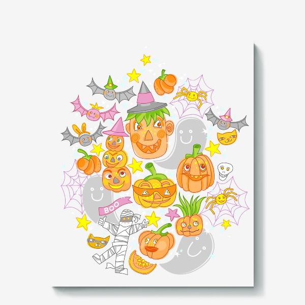 Холст «Happy Halloween. Тыквы, призраки, летучие мыши»