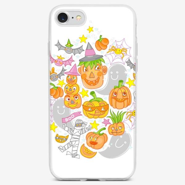 Чехол iPhone «Happy Halloween. Тыквы, призраки, летучие мыши»