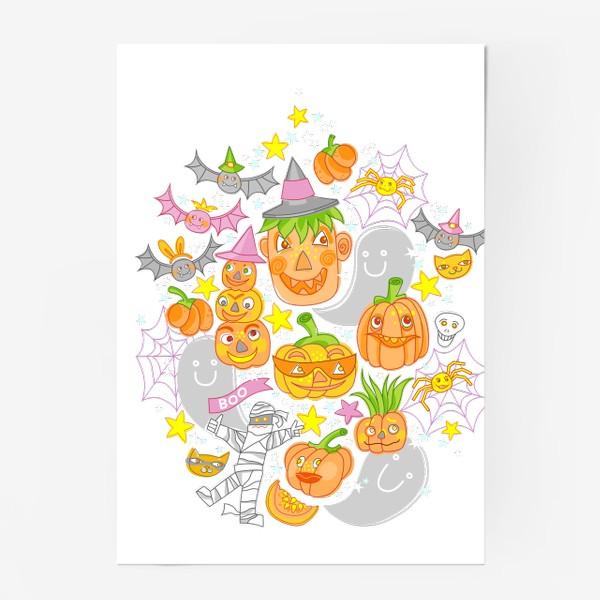 Постер «Happy Halloween. Тыквы, призраки, летучие мыши»