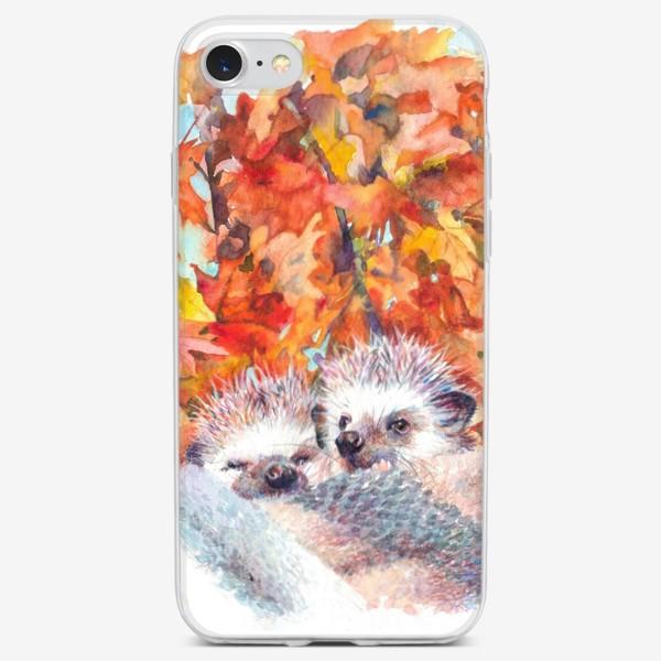 Чехол iPhone «Милые ежики»