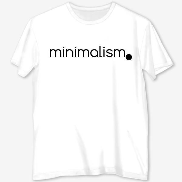 Футболка с полной запечаткой «Минимализм. Надпись. Черное и белое»