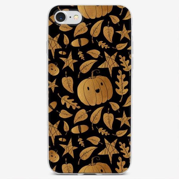 Чехол iPhone «Тыквы на Хэллоуин (Halloween) - золото на черном»