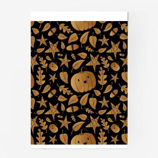 Постер «Тыквы на Хэллоуин (Halloween) - золото на черном»