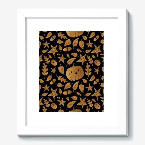 Картина «Тыквы на Хэллоуин (Halloween) - золото на черном»