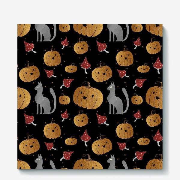 Холст «Тыквы и кошки на Хэллоуин (Halloween) - на черном»