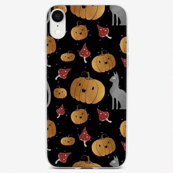 Чехол iPhone «Тыквы и кошки на Хэллоуин (Halloween) - на черном»