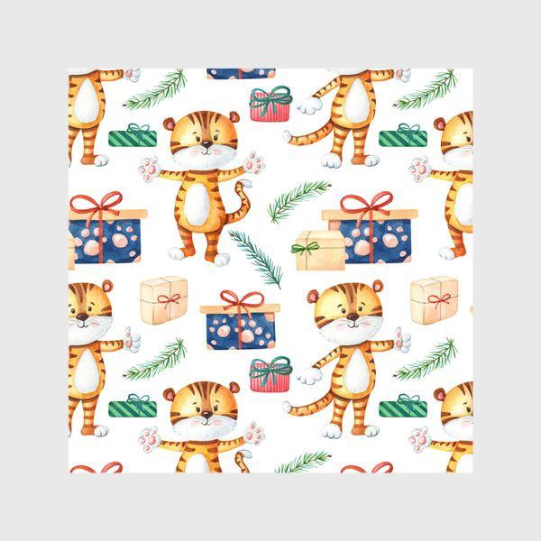 Шторы «Тигрята с подарками. Новогодний»