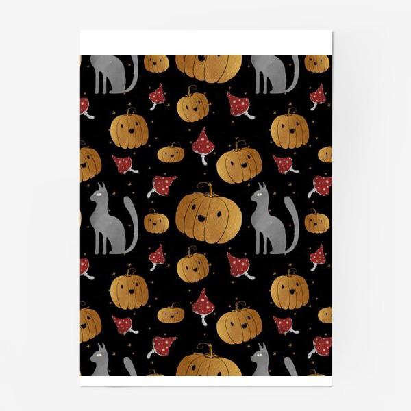 Постер «Тыквы и кошки на Хэллоуин (Halloween) - на черном»