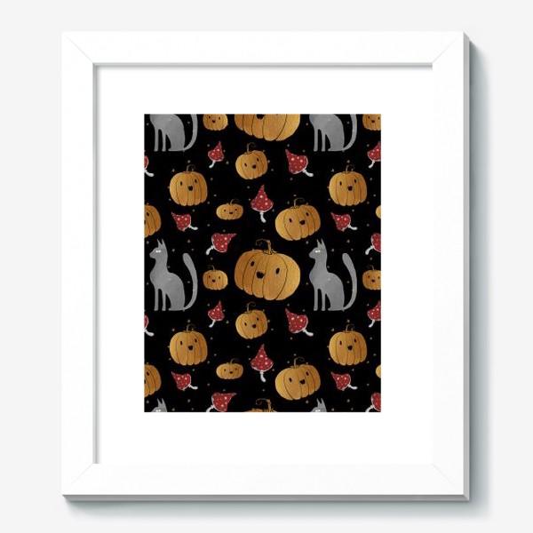 Картина «Тыквы и кошки на Хэллоуин (Halloween) - на черном»
