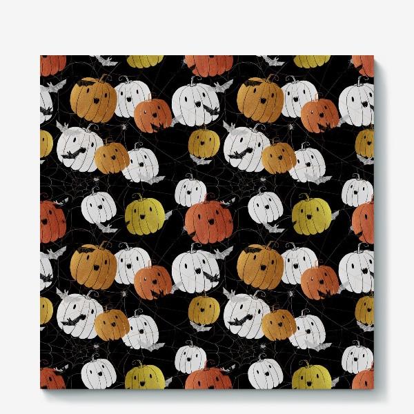 Холст «Разноцветные тыквы и летучие мыши на Хэллоуин (Halloween)»