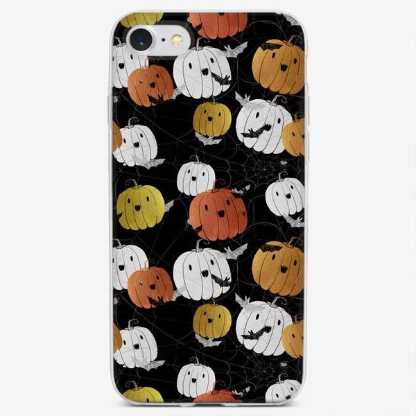 Чехол iPhone «Разноцветные тыквы и летучие мыши на Хэллоуин (Halloween)»