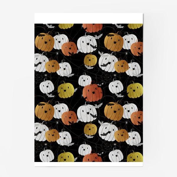 Постер «Разноцветные тыквы и летучие мыши на Хэллоуин (Halloween)»