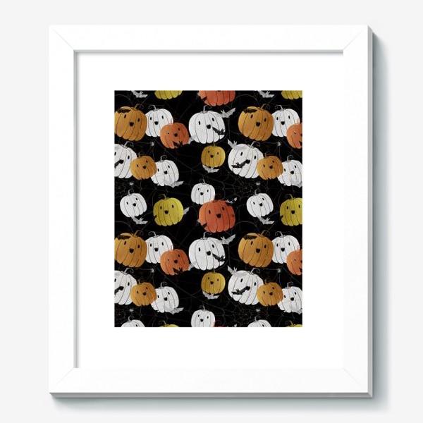 Картина «Разноцветные тыквы и летучие мыши на Хэллоуин (Halloween)»