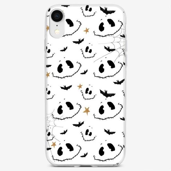 Чехол iPhone «Улыбки, летучие мыши и звезды на Хэллоуин (Halloween) на белом»