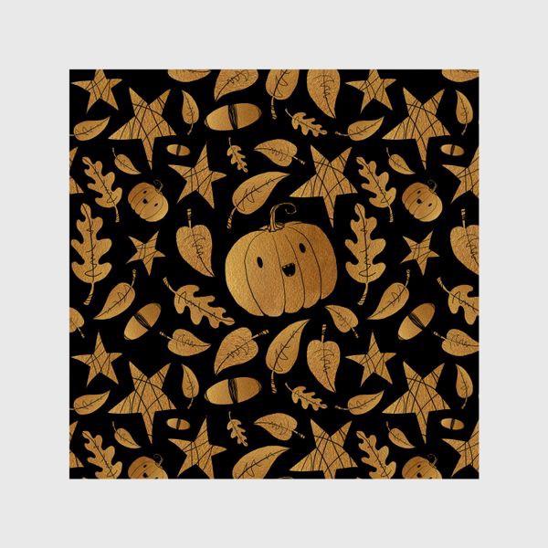 Шторы «Тыквы на Хэллоуин (Halloween) - золото на черном»