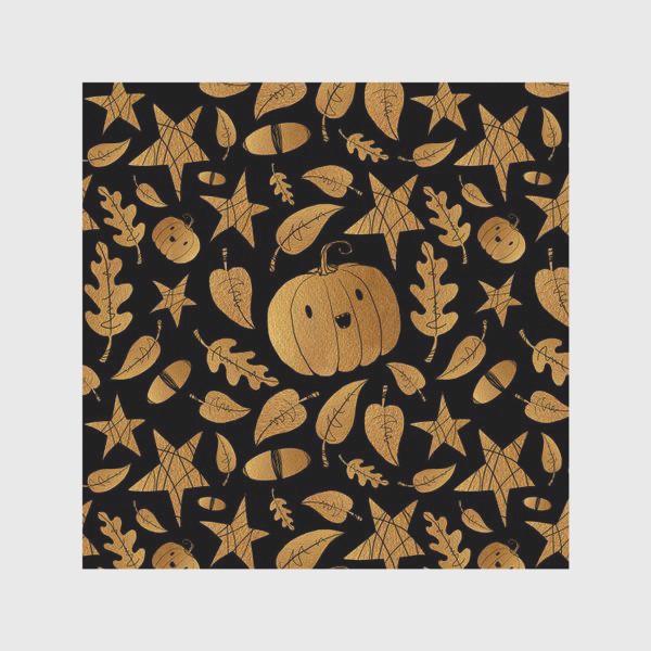 Скатерть «Тыквы на Хэллоуин (Halloween) - золото на черном»