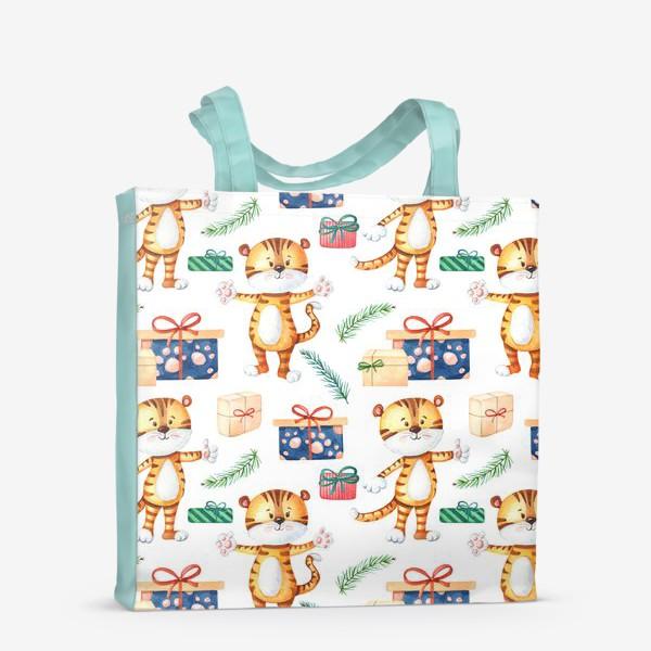 Сумка-шоппер «Тигрята с подарками. Новогодний»