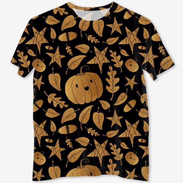 Футболка с полной запечаткой «Тыквы на Хэллоуин (Halloween) - золото на черном»