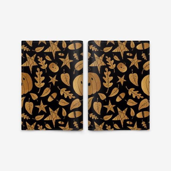 Обложка для паспорта «Тыквы на Хэллоуин (Halloween) - золото на черном»