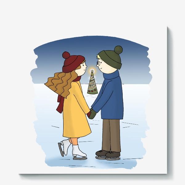 Холст «Влюбленная пара Парень и Девушка катаются на Коньках Couple in love Boy and Girl are Ice Skating by Christmas tree»