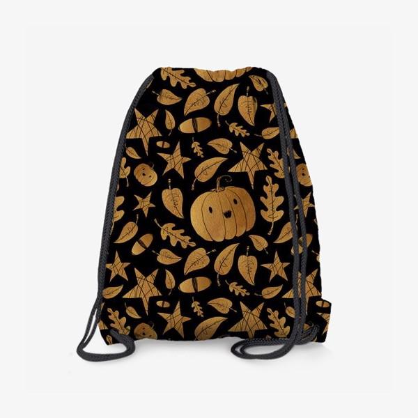 Рюкзак «Тыквы на Хэллоуин (Halloween) - золото на черном»