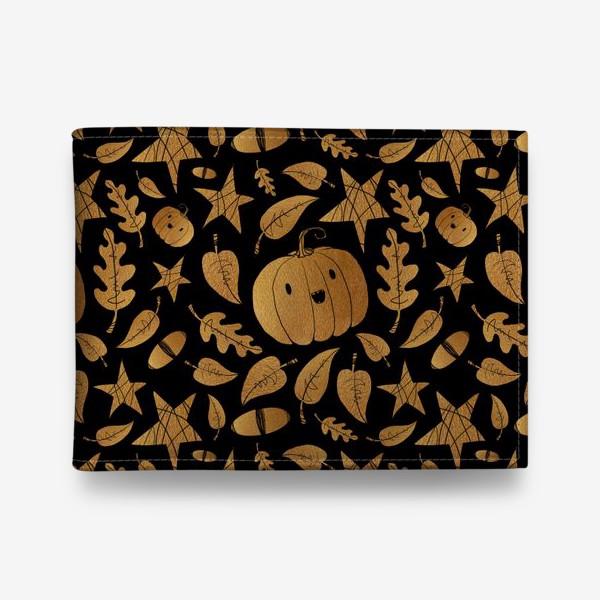 Кошелек «Тыквы на Хэллоуин (Halloween) - золото на черном»