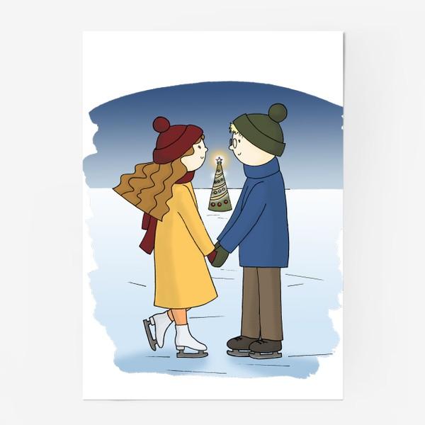Постер «Влюбленная пара Парень и Девушка катаются на Коньках Couple in love Boy and Girl are Ice Skating by Christmas tree»