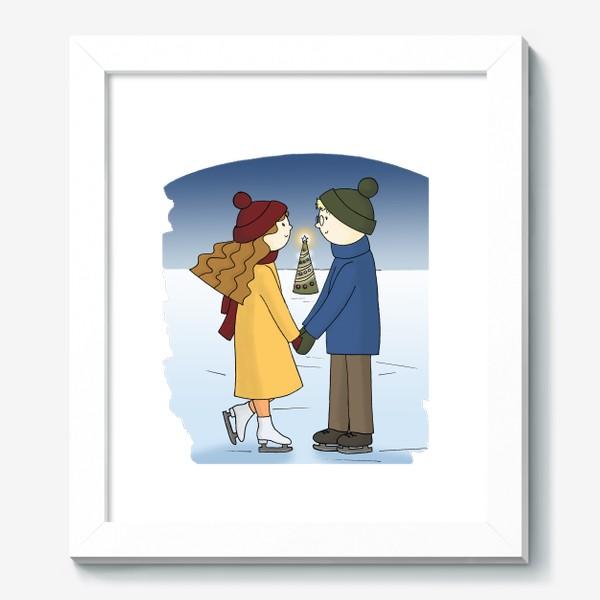 Картина «Влюбленная пара Парень и Девушка катаются на Коньках Couple in love Boy and Girl are Ice Skating by Christmas tree»