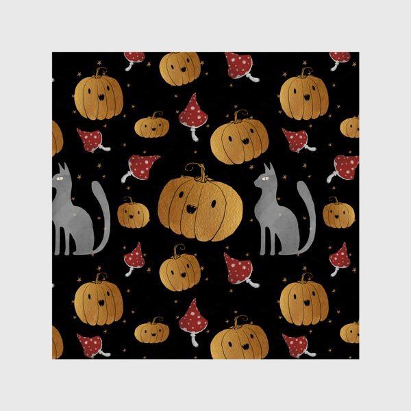 Шторы «Тыквы и кошки на Хэллоуин (Halloween) - на черном»