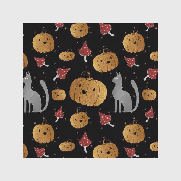 Скатерть «Тыквы и кошки на Хэллоуин (Halloween) - на черном»