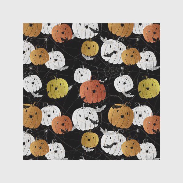 Скатерть «Разноцветные тыквы и летучие мыши на Хэллоуин (Halloween)»