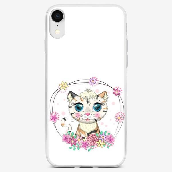 Чехол iPhone «Пятнистая кошечка в цветах, маскировка под тигра»